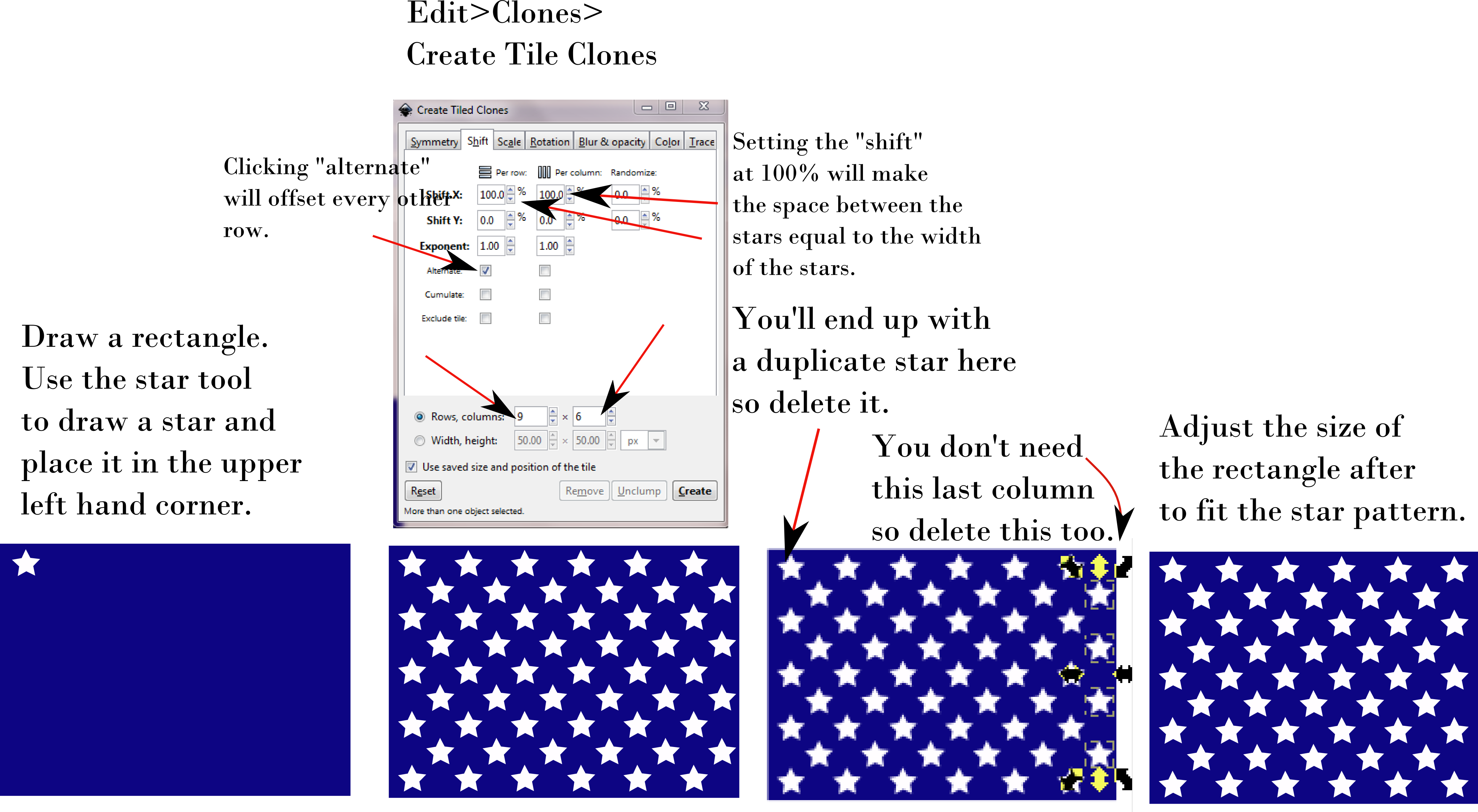 tutorial showing how to distribute stars for American flag