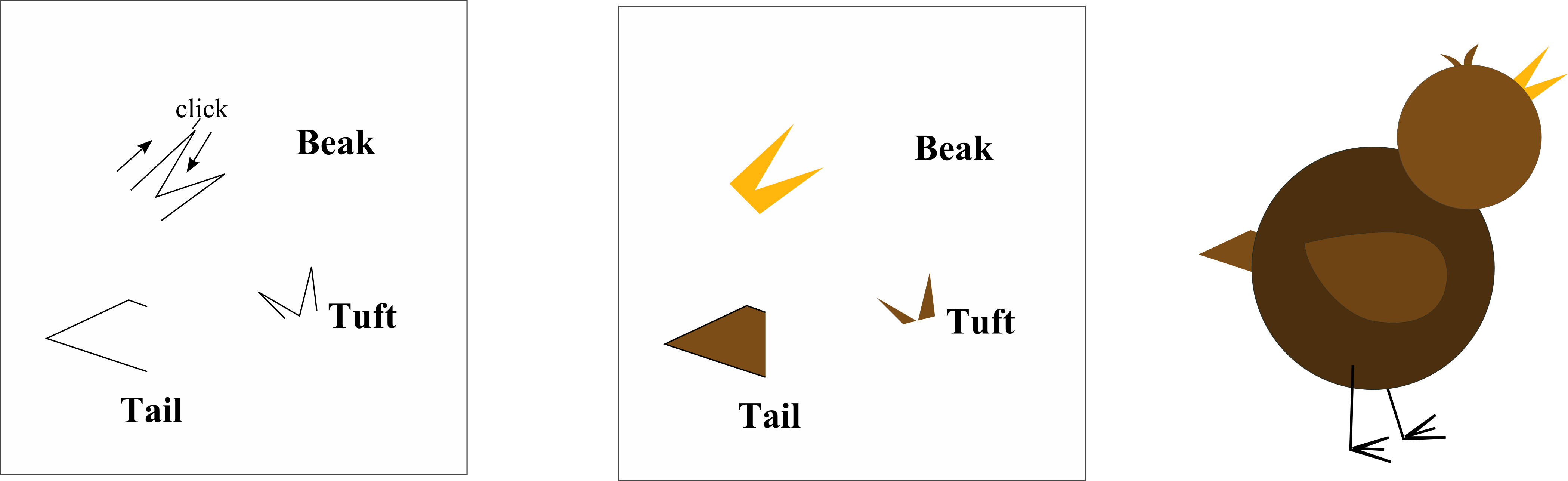 examples of tail, beak, tuft and feet