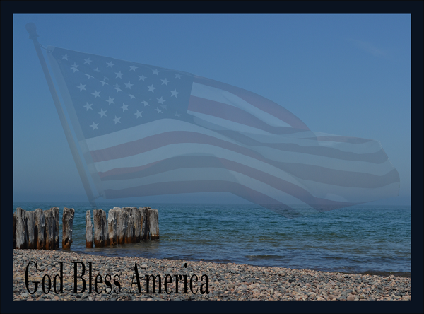 Photo of beach with American Flag