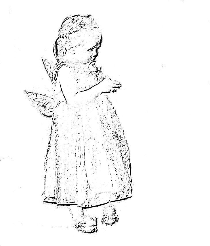 sketch of little girl dressed like fairy