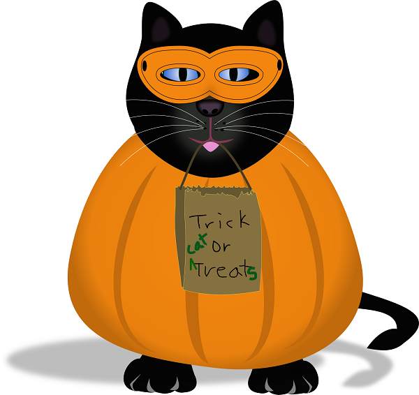 Inkscape illusration of black cat dressed in pumpkin costume