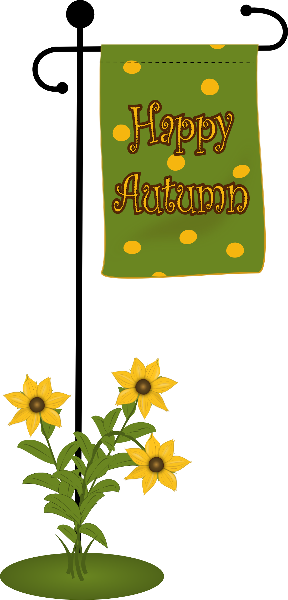 happy Autumn flag with fowers