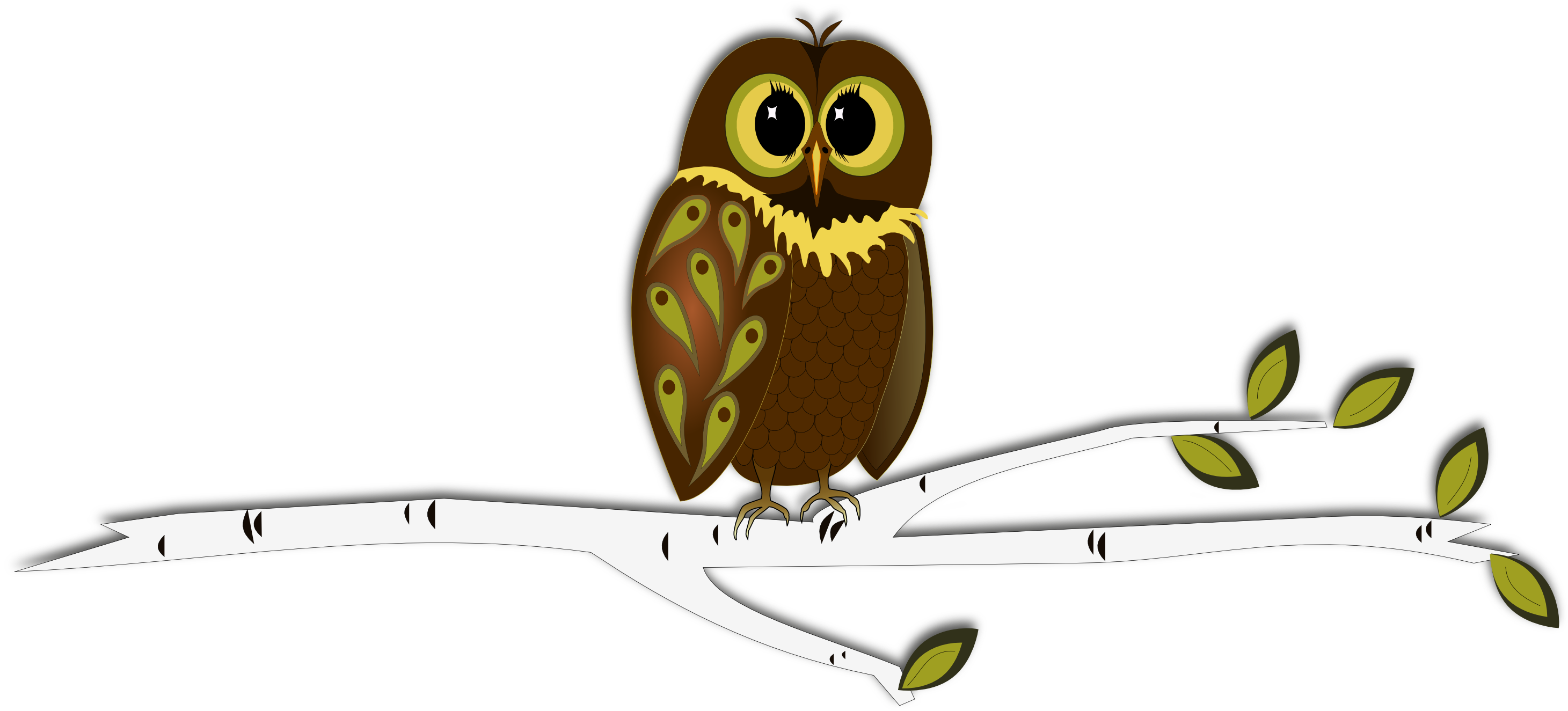illustration of whimsical owl on a tree branh