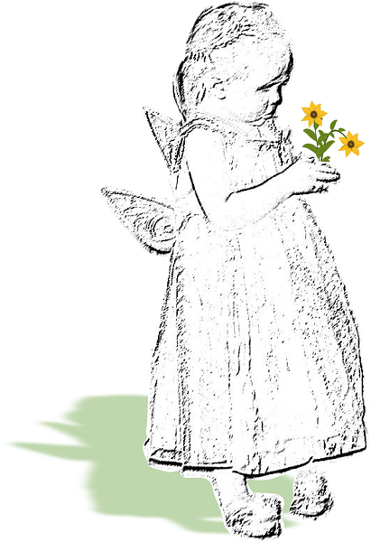 Inkscape sketch of little girl with flowers