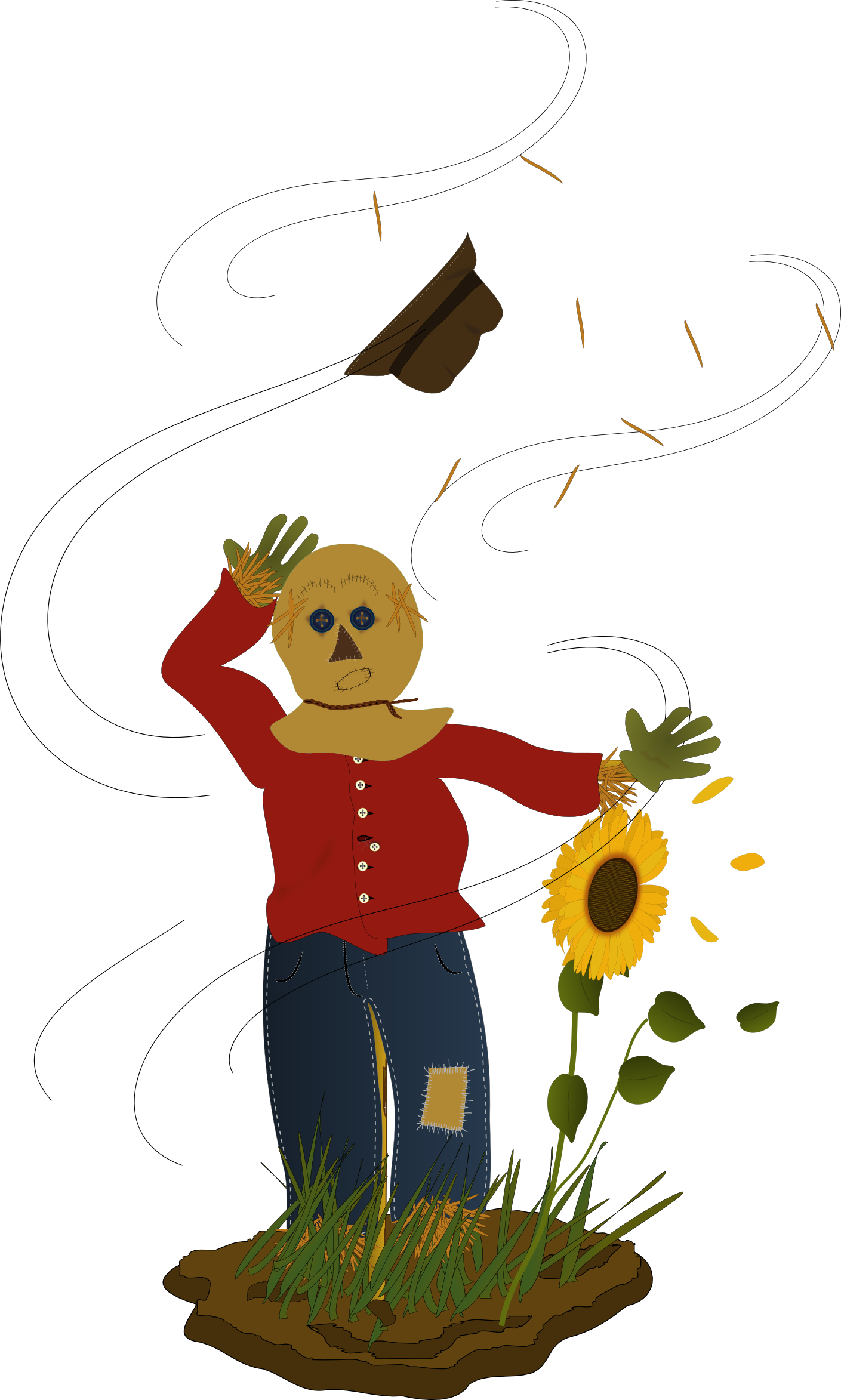 Inkscape illustration of scarecrow with hat blowing in the wind