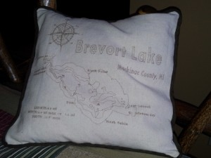 Image of Pillow with Sketch of Brevort Lake Map