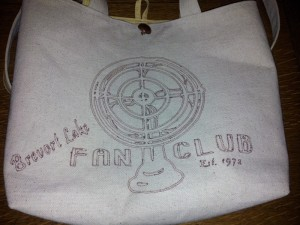 "Picture of Handmade Bag ~ Sketch of Fan with text ""Brevort Lake Fan Club"""