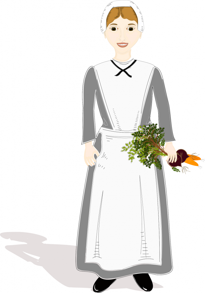 Illustration of Pilgrim girl holding vegetables, drawn in Inkscape