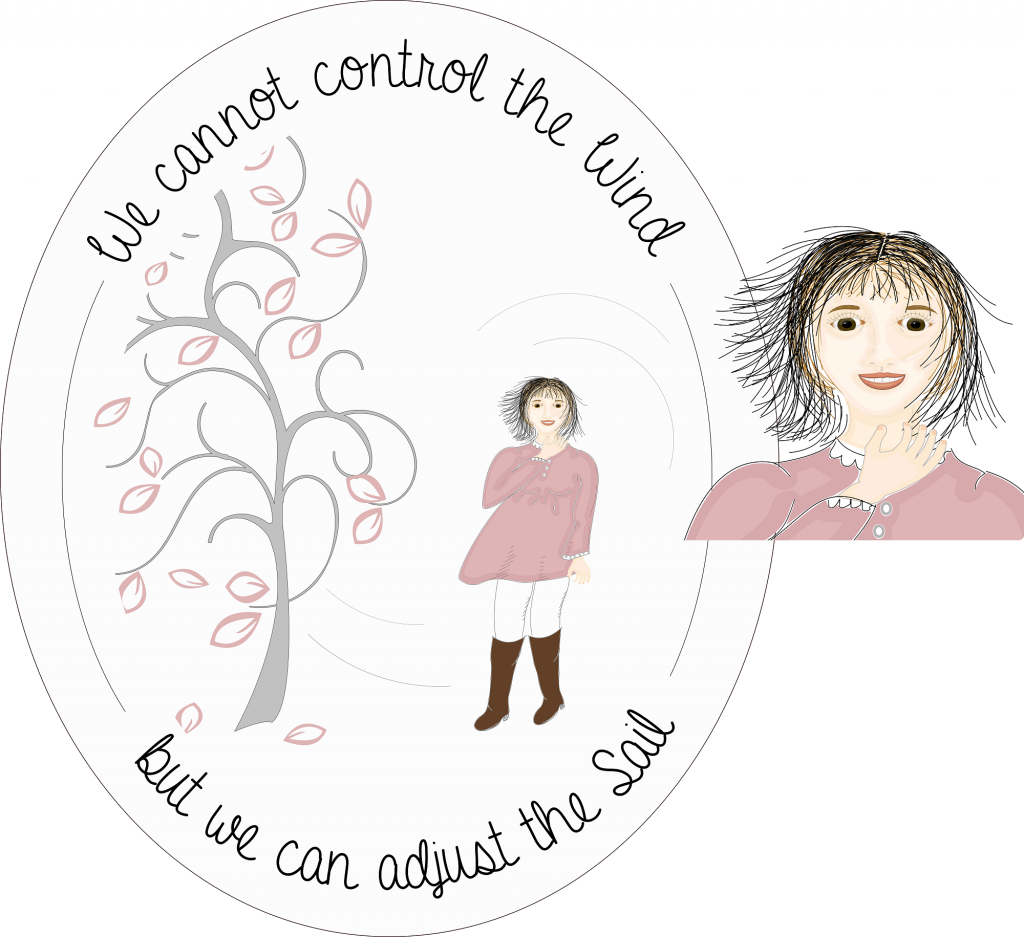 "Inkscape illustration of girl standing by a tree on windy day. Text says, ""We cannot comtrol the wind, but we can adjust the Sail."