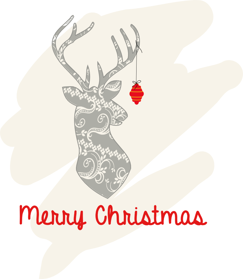 "Illustration of Faux Deer mount with ornament and ""Merry Christmas"""